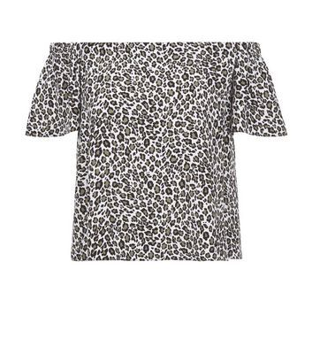 White Leopard Print Bardot Neck Top - neckline: off the shoulder; predominant colour: white; secondary colour: black; occasions: casual; length: standard; style: top; fibres: viscose/rayon - 100%; fit: body skimming; sleeve length: short sleeve; sleeve style: standard; pattern type: fabric; pattern size: standard; pattern: animal print; texture group: woven light midweight; multicoloured: multicoloured; season: s/s 2016