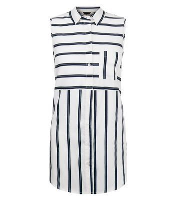 White Stripe Sleeveless Shirt - neckline: shirt collar/peter pan/zip with opening; sleeve style: sleeveless; pattern: striped; style: shirt; predominant colour: white; secondary colour: black; occasions: casual; length: standard; fibres: polyester/polyamide - 100%; fit: body skimming; sleeve length: sleeveless; pattern type: fabric; pattern size: standard; texture group: other - light to midweight; multicoloured: multicoloured; season: s/s 2016; wardrobe: highlight