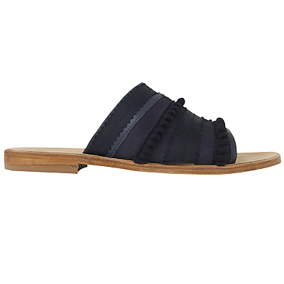 Cabana Slip On Sandals, Navy - predominant colour: navy; material: leather; heel height: flat; heel: block; toe: open toe/peeptoe; style: slides; occasions: holiday; finish: plain; pattern: plain; season: s/s 2016; wardrobe: highlight