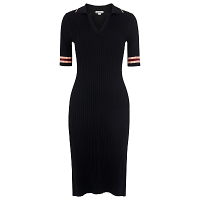 Tipped Stripe Polo Dress, Navy - style: shift; neckline: v-neck; pattern: striped; predominant colour: navy; secondary colour: nude; occasions: casual, creative work; length: just above the knee; fit: body skimming; fibres: cotton - stretch; sleeve length: half sleeve; sleeve style: standard; texture group: knits/crochet; pattern type: knitted - other; pattern size: light/subtle; season: s/s 2016; wardrobe: highlight
