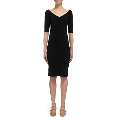 Bardot Knit Dress, Black - neckline: low v-neck; fit: tight; pattern: plain; style: bodycon; hip detail: fitted at hip; predominant colour: black; length: on the knee; fibres: cotton - mix; sleeve length: 3/4 length; sleeve style: standard; texture group: knits/crochet; pattern type: knitted - fine stitch; occasions: creative work; season: s/s 2016; wardrobe: investment