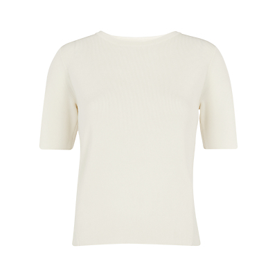Cross Back Knit T Shirt, Ivory - neckline: round neck; pattern: plain; style: t-shirt; predominant colour: ivory/cream; occasions: casual, creative work; length: standard; fit: body skimming; sleeve length: short sleeve; sleeve style: standard; pattern type: fabric; texture group: jersey - stretchy/drapey; fibres: viscose/rayon - mix; season: s/s 2016; wardrobe: basic