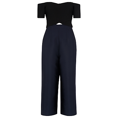 Marina Cross Jumpsuit, Black/Multi - neckline: off the shoulder; pattern: plain; secondary colour: navy; predominant colour: black; occasions: evening; length: calf length; fit: body skimming; fibres: polyester/polyamide - mix; waist detail: cut out detail; sleeve length: short sleeve; sleeve style: standard; texture group: crepes; style: jumpsuit; pattern type: fabric; season: s/s 2016; wardrobe: event