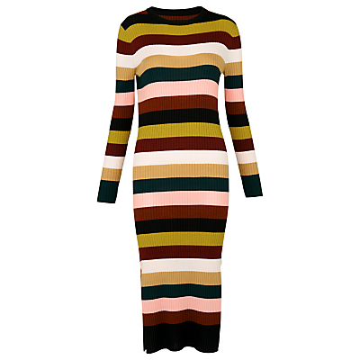 Stripe Rib Knit Dress, Multi - style: shift; length: calf length; neckline: round neck; pattern: horizontal stripes; secondary colour: lime; predominant colour: tan; occasions: casual, creative work; fit: body skimming; fibres: cotton - 100%; sleeve length: long sleeve; sleeve style: standard; texture group: knits/crochet; pattern type: knitted - fine stitch; pattern size: standard; multicoloured: multicoloured; season: s/s 2016; wardrobe: highlight