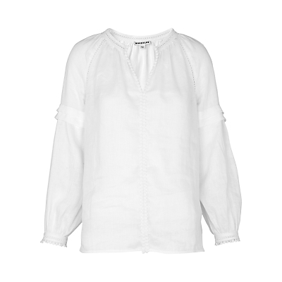 Pom Pom Cotton Blouse, White - neckline: v-neck; pattern: plain; style: blouse; predominant colour: white; occasions: casual; length: standard; fibres: cotton - 100%; fit: body skimming; sleeve length: long sleeve; sleeve style: standard; texture group: cotton feel fabrics; pattern type: fabric; season: s/s 2016; wardrobe: basic