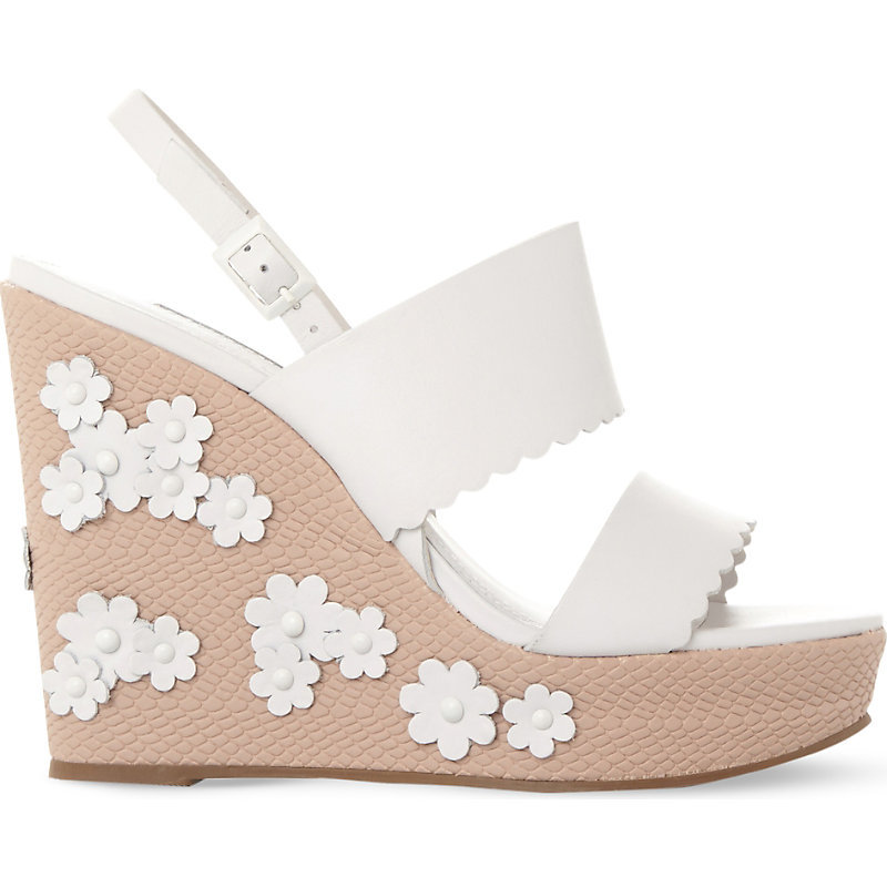 Flower Embellished Leather Wedges, Women's, Size: Eur 37 / 4 Uk Women, White Leather - predominant colour: white; material: leather; ankle detail: ankle strap; heel: wedge; toe: open toe/peeptoe; style: strappy; occasions: holiday; finish: plain; pattern: plain; heel height: very high; shoe detail: platform; season: s/s 2016; wardrobe: investment