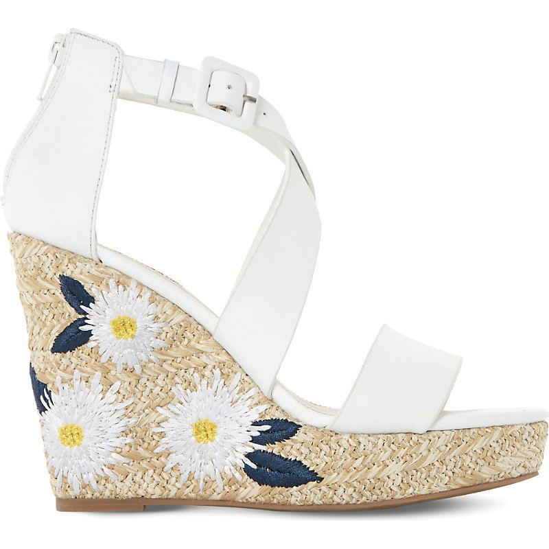 Kesha Leather Embroidered Raffia Wedge Sandals, Women's, Eur 38 / 5 Uk Women, White Leather - predominant colour: white; occasions: casual, holiday; material: leather; ankle detail: ankle strap; heel: wedge; toe: open toe/peeptoe; style: strappy; finish: plain; pattern: plain; heel height: very high; shoe detail: platform; season: s/s 2016