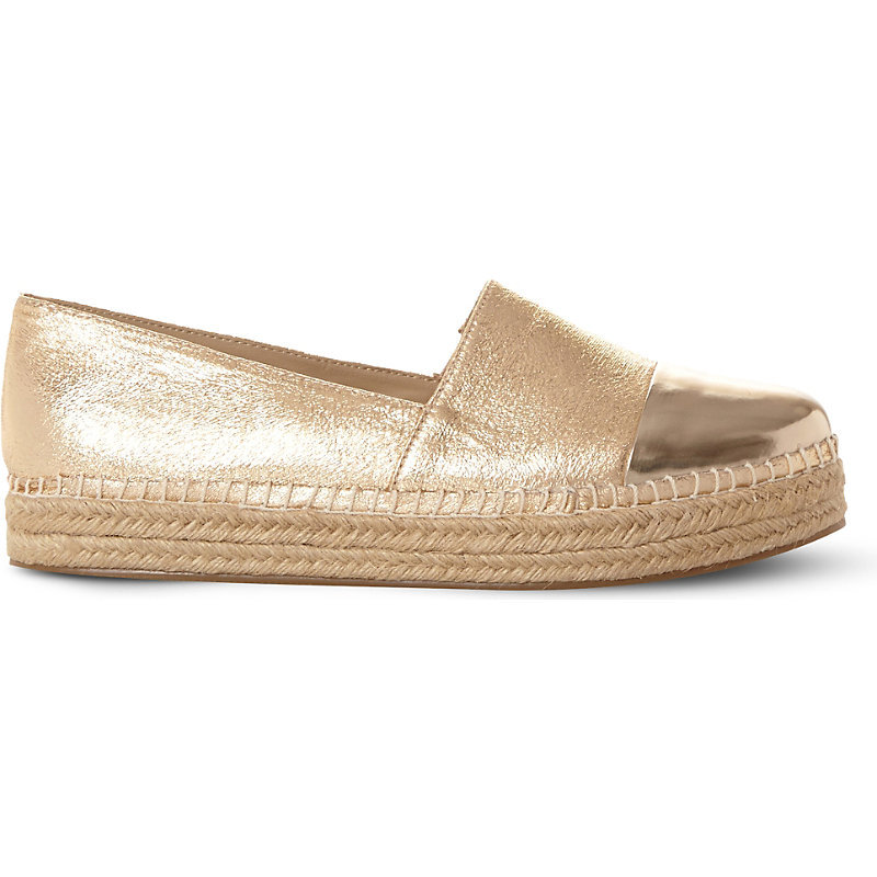 Prioriti Metallic Espadrilles, Women's, Eur 37 / 4 Uk Women, Gold Synthetic - predominant colour: gold; occasions: casual, holiday; material: leather; heel height: flat; toe: round toe; finish: metallic; pattern: plain; style: espadrilles; shoe detail: platform; season: s/s 2016; wardrobe: highlight