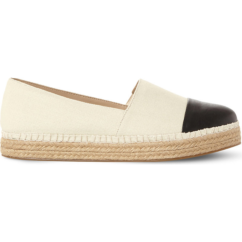 Prioriti Canvas And Leather Espadrilles, Women's, Eur 40 / 7 Uk Women, Beige Synthetic - predominant colour: ivory/cream; secondary colour: black; occasions: casual, holiday; material: leather; heel height: flat; toe: round toe; finish: plain; pattern: colourblock; style: espadrilles; shoe detail: platform; season: s/s 2016; wardrobe: highlight
