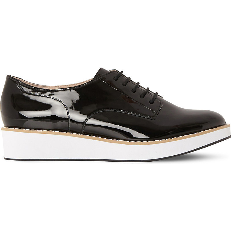 Raant Patent Flatform Brogues, Women's, Eur 41 / 8 Uk Women, Black Synthetic - predominant colour: black; occasions: casual, creative work; material: leather; heel height: flat; toe: round toe; style: flatforms; finish: patent; pattern: plain; shoe detail: moulded soul; season: s/s 2016; wardrobe: highlight