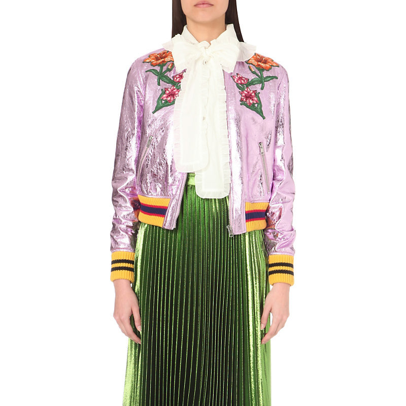 Embroidered Appliqué Metallic Leather Bomber Jacket, Women's, Rose Multi - collar: round collar/collarless; style: bomber; predominant colour: blush; secondary colour: yellow; occasions: evening, creative work; length: standard; fit: straight cut (boxy); fibres: leather - 100%; sleeve length: long sleeve; sleeve style: standard; texture group: leather; collar break: high/illusion of break when open; pattern type: fabric; pattern size: light/subtle; pattern: florals; embellishment: applique; multicoloured: multicoloured; season: s/s 2016; wardrobe: highlight; embellishment location: shoulder