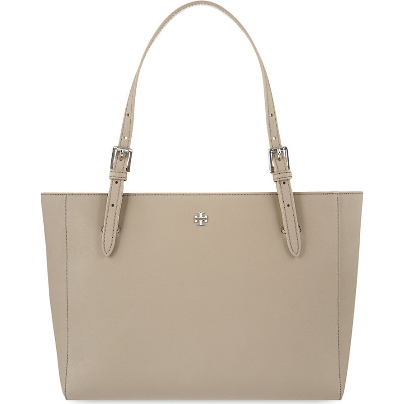 York Small Leather Tote, Women's, French Gray - predominant colour: taupe; occasions: casual, work, creative work; type of pattern: standard; style: tote; length: handle; size: small; material: leather; pattern: plain; finish: plain; season: s/s 2016; wardrobe: investment