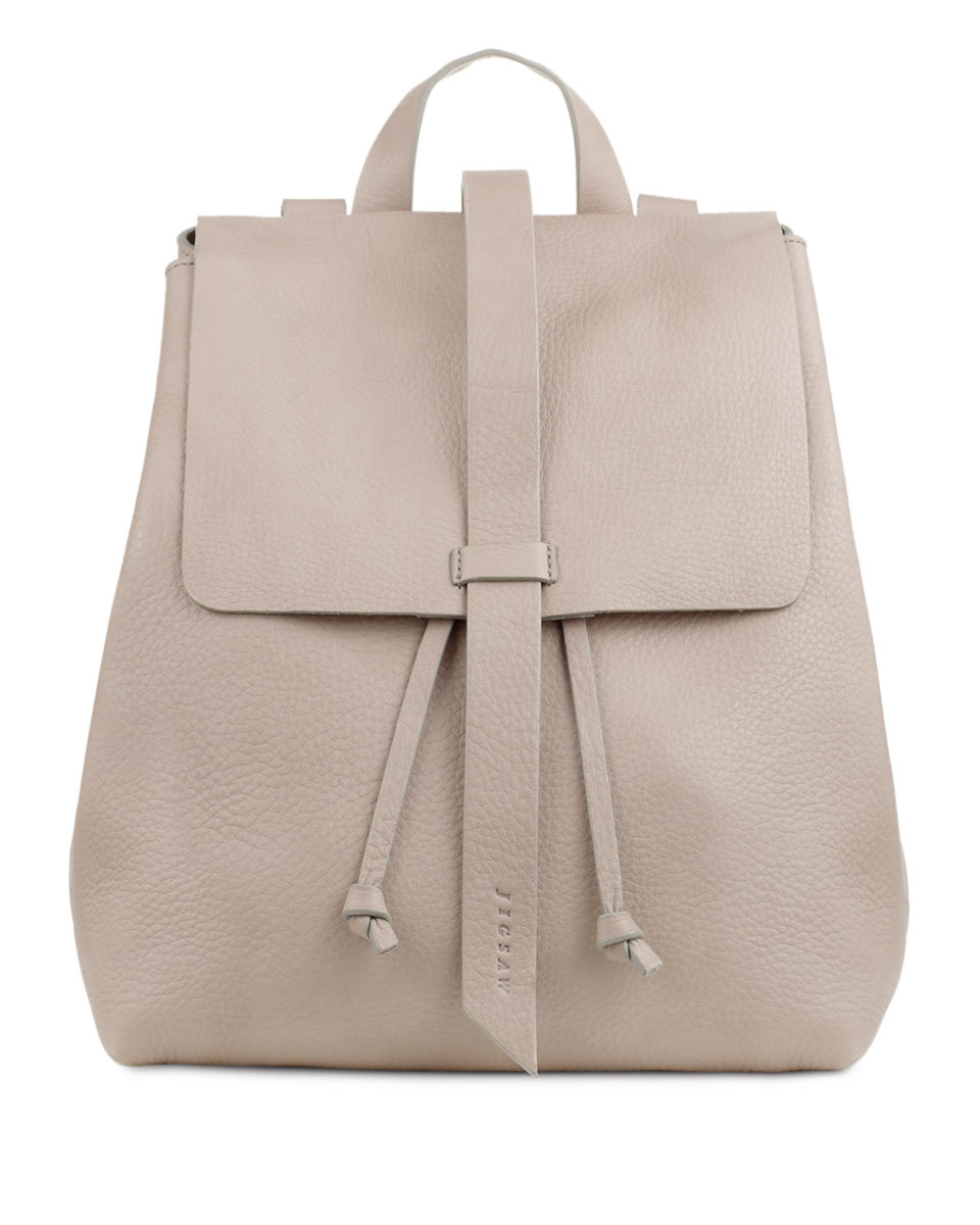 Blake Leather Backpack - predominant colour: light grey; occasions: casual, creative work; type of pattern: standard; style: rucksack; length: rucksack; size: standard; material: leather; pattern: plain; finish: plain; season: s/s 2016; wardrobe: basic
