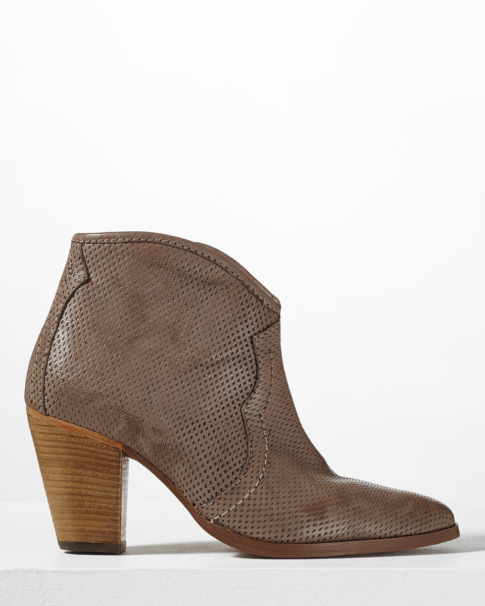 Cara Perforated Side Zip Boot - predominant colour: chocolate brown; occasions: casual, creative work; material: leather; heel height: high; heel: block; toe: round toe; boot length: ankle boot; style: cowboy; finish: plain; pattern: plain; season: s/s 2016