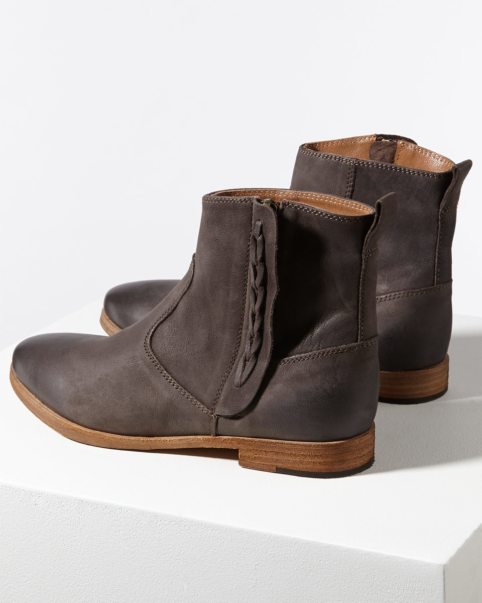 Charlie Leather Western Boot - predominant colour: chocolate brown; occasions: casual; material: leather; heel height: flat; heel: standard; toe: round toe; boot length: ankle boot; style: standard; finish: plain; pattern: plain; season: s/s 2016; wardrobe: basic
