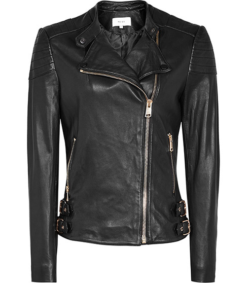 Shelby Leather Biker Jacket - pattern: plain; style: biker; collar: asymmetric biker; predominant colour: black; occasions: casual, creative work; length: standard; fit: tailored/fitted; fibres: leather - 100%; sleeve length: long sleeve; sleeve style: standard; texture group: leather; collar break: high; pattern type: fabric; pattern size: standard; season: s/s 2016; wardrobe: basic