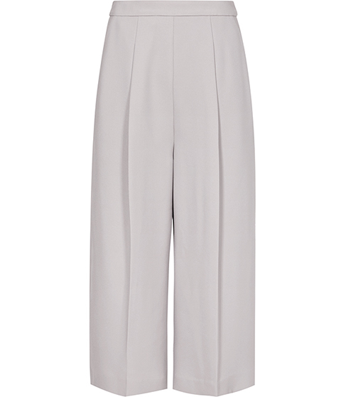 Cally Wide Leg Culottes - pattern: plain; waist: high rise; predominant colour: mid grey; length: calf length; fibres: polyester/polyamide - 100%; waist detail: narrow waistband; texture group: crepes; fit: wide leg; pattern type: fabric; style: standard; occasions: creative work; season: s/s 2016; wardrobe: basic