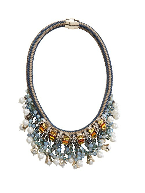 Tatiana Necklace - secondary colour: pale blue; predominant colour: silver; occasions: evening, occasion; style: choker/collar/torque; length: mid; size: large/oversized; material: chain/metal; finish: plain; embellishment: beading; multicoloured: multicoloured; season: s/s 2016; wardrobe: event