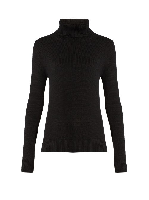 Roll Neck Cashmere Sweater - pattern: plain; neckline: roll neck; style: standard; predominant colour: black; occasions: casual, creative work; length: standard; fit: standard fit; fibres: cashmere - 100%; sleeve length: long sleeve; sleeve style: standard; texture group: knits/crochet; pattern type: knitted - fine stitch; season: s/s 2016; wardrobe: investment
