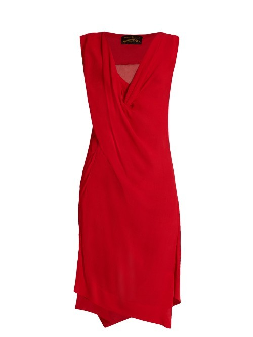 Stitch Draped Crepon Dress - style: shift; neckline: v-neck; pattern: plain; sleeve style: sleeveless; predominant colour: true red; occasions: evening; length: on the knee; fit: body skimming; fibres: viscose/rayon - 100%; sleeve length: sleeveless; pattern type: fabric; texture group: jersey - stretchy/drapey; season: s/s 2016; wardrobe: event