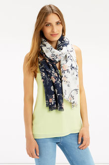 Oriental Patched Scarf - secondary colour: white; predominant colour: navy; occasions: casual, creative work; type of pattern: standard; style: regular; size: standard; material: fabric; pattern: patterned/print; season: s/s 2016; wardrobe: highlight