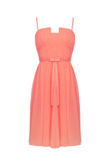 Bandeau Skater Dress - sleeve style: spaghetti straps; pattern: plain; waist detail: belted waist/tie at waist/drawstring; predominant colour: coral; occasions: evening; length: on the knee; fit: fitted at waist & bust; style: fit & flare; fibres: polyester/polyamide - 100%; sleeve length: sleeveless; texture group: sheer fabrics/chiffon/organza etc.; neckline: medium square neck; pattern type: fabric; season: s/s 2016; wardrobe: event