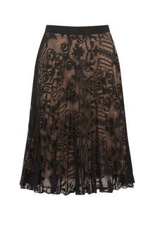 Pleated Lace Skirt - pattern: plain; fit: body skimming; style: pleated; waist: mid/regular rise; predominant colour: black; occasions: evening; length: on the knee; fibres: polyester/polyamide - 100%; texture group: lace; pattern type: fabric; season: s/s 2016; wardrobe: event