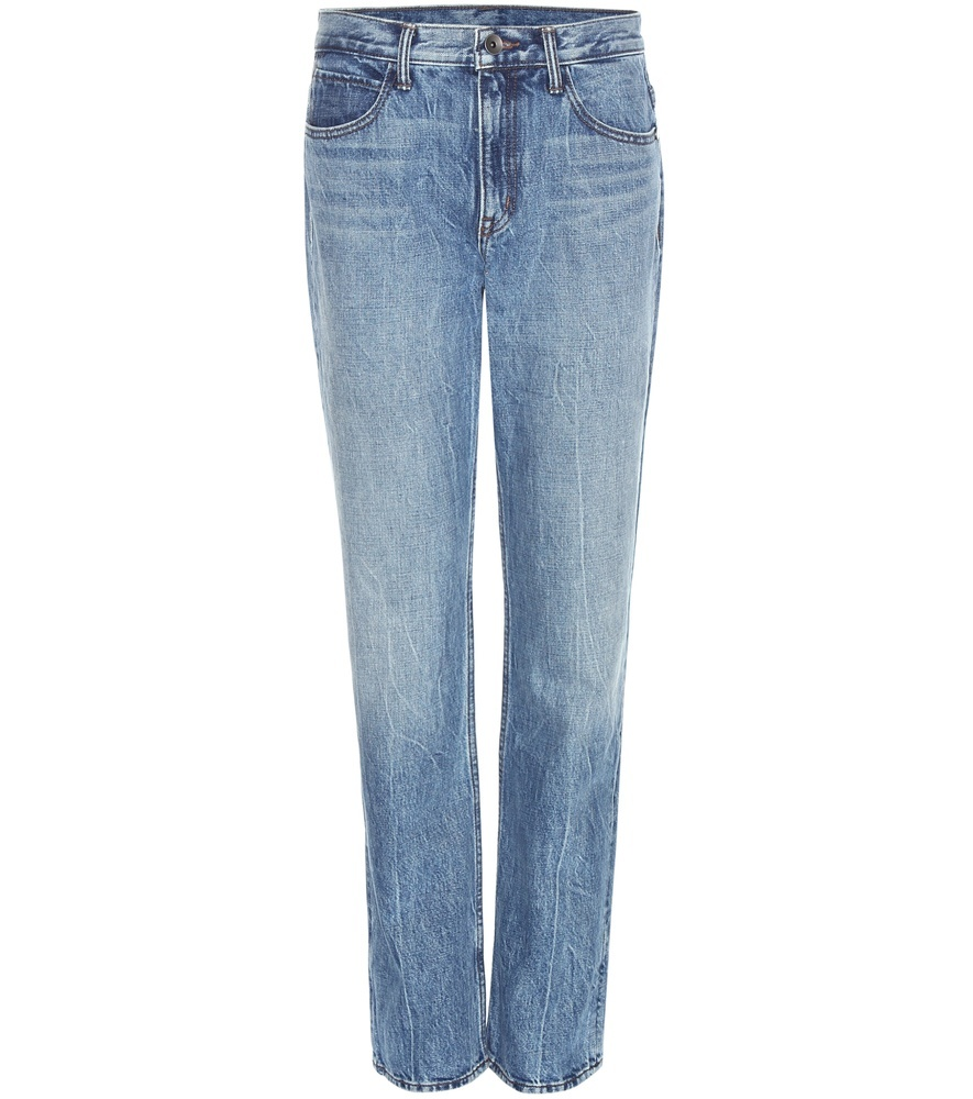 Boyfriend Jeans - style: skinny leg; length: standard; pattern: plain; waist: high rise; pocket detail: traditional 5 pocket; predominant colour: denim; occasions: casual; fibres: cotton - 100%; jeans detail: whiskering, shading down centre of thigh; texture group: denim; pattern type: fabric; season: s/s 2016; wardrobe: basic