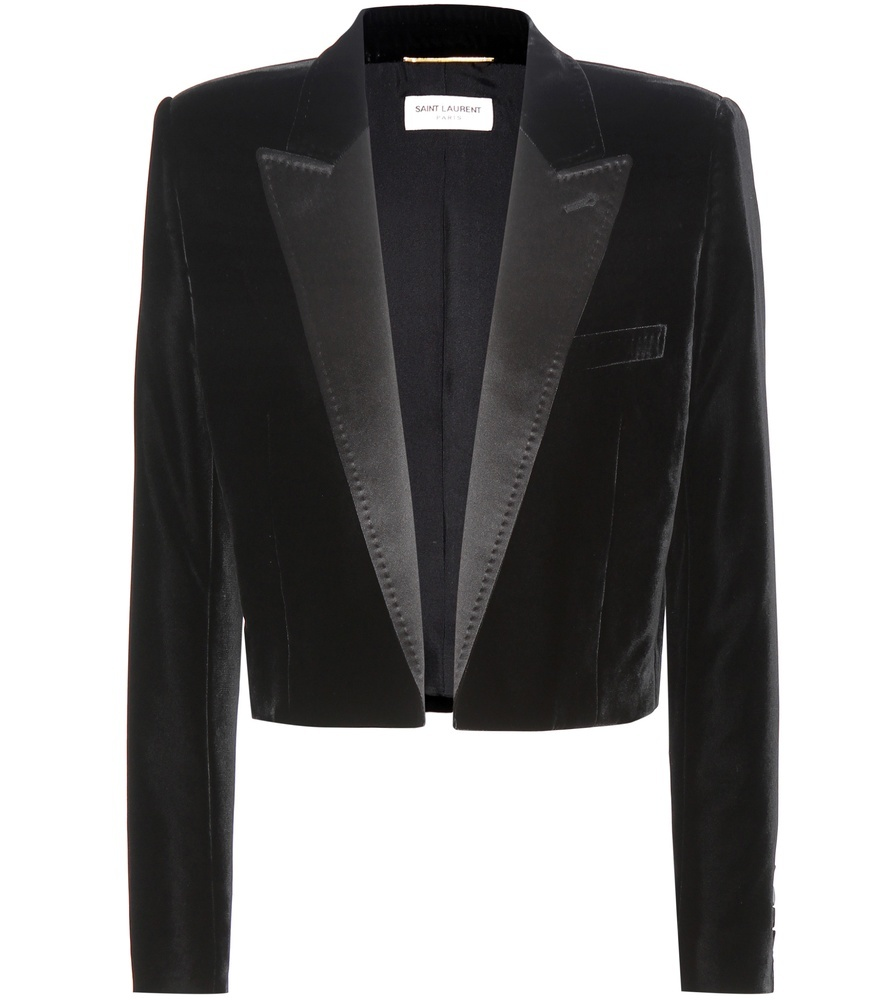 Cropped Velvet Tuxedo Jacket - pattern: plain; style: single breasted tuxedo; collar: standard lapel/rever collar; predominant colour: black; occasions: evening; fit: straight cut (boxy); sleeve length: long sleeve; sleeve style: standard; collar break: low/open; pattern type: fabric; texture group: velvet/fabrics with pile; fibres: viscose/rayon - mix; length: cropped; season: s/s 2016; wardrobe: event