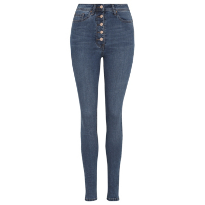 Button Up Skinny Jeans Mid Wash Denim - style: skinny leg; length: standard; pattern: plain; waist: high rise; pocket detail: traditional 5 pocket; predominant colour: denim; occasions: casual; fibres: cotton - stretch; texture group: denim; pattern type: fabric; season: s/s 2016; wardrobe: basic