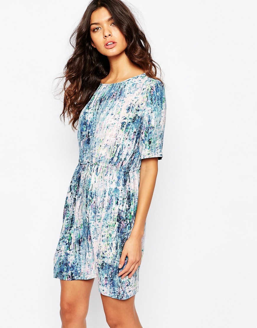 Asplashy Tie Waist Dress In Abstract Print Multi - style: t-shirt; neckline: round neck; secondary colour: white; predominant colour: pale blue; occasions: casual; length: just above the knee; fit: body skimming; fibres: viscose/rayon - 100%; sleeve length: half sleeve; sleeve style: standard; pattern type: fabric; pattern size: standard; pattern: patterned/print; texture group: other - light to midweight; season: s/s 2016