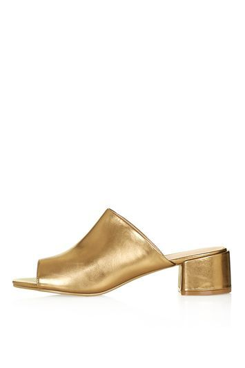 Duel Mule Sandal - predominant colour: gold; heel height: mid; heel: block; toe: open toe/peeptoe; style: slides; finish: plain; pattern: plain; material: faux suede; occasions: creative work; season: s/s 2016; wardrobe: highlight; trends: metallics