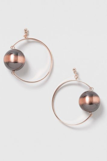 Resin Ball Hoop Earrings - predominant colour: gold; occasions: evening; style: hoop; length: long; size: large/oversized; material: chain/metal; fastening: pierced; finish: metallic; embellishment: chain/metal; season: s/s 2016; wardrobe: event