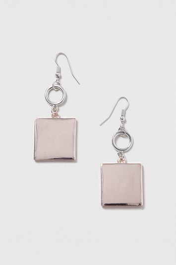 Square Drop Earrings - predominant colour: silver; occasions: evening, creative work; style: hoop; length: mid; size: standard; material: chain/metal; fastening: pierced; finish: metallic; season: s/s 2016