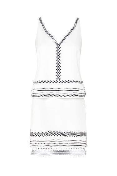 Cream Embroidered Edge Tunic - neckline: v-neck; pattern: plain; sleeve style: sleeveless; length: below the bottom; style: tunic; predominant colour: white; secondary colour: black; occasions: casual, holiday; fibres: polyester/polyamide - 100%; fit: body skimming; sleeve length: sleeveless; trends: monochrome; pattern type: fabric; texture group: other - light to midweight; embellishment: embroidered; multicoloured: multicoloured; season: s/s 2016; wardrobe: highlight
