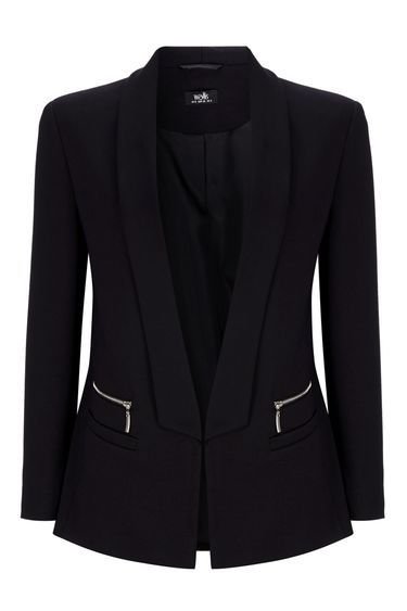 Black Ponte Zip Blazer - pattern: plain; style: single breasted blazer; collar: shawl/waterfall; predominant colour: black; occasions: work, creative work; length: standard; fit: tailored/fitted; fibres: polyester/polyamide - stretch; sleeve length: 3/4 length; sleeve style: standard; collar break: low/open; pattern type: fabric; texture group: woven light midweight; season: s/s 2016