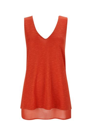 Rust V Neck Chiffon Underlay Top - neckline: v-neck; pattern: plain; sleeve style: sleeveless; style: vest top; predominant colour: true red; occasions: casual; length: standard; fibres: polyester/polyamide - 100%; fit: body skimming; sleeve length: sleeveless; texture group: sheer fabrics/chiffon/organza etc.; pattern type: fabric; season: s/s 2016; wardrobe: highlight