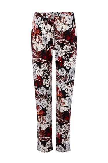 Geometric Printed Floral Trouser - length: standard; waist: mid/regular rise; secondary colour: ivory/cream; predominant colour: black; occasions: casual; fibres: viscose/rayon - stretch; fit: slim leg; pattern type: fabric; pattern: florals; texture group: jersey - stretchy/drapey; style: standard; pattern size: big & busy (bottom); multicoloured: multicoloured; season: s/s 2016; wardrobe: highlight