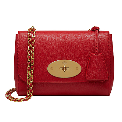 Lily Shoulder Bag - predominant colour: true red; secondary colour: gold; occasions: evening; type of pattern: standard; style: shoulder; length: across body/long; size: standard; material: leather; pattern: plain; finish: plain; embellishment: chain/metal; season: s/s 2016; wardrobe: event