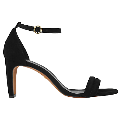 Elsworth Two Part Stiletto Heeled Sandals - predominant colour: black; occasions: evening, occasion; material: suede; heel height: high; ankle detail: ankle strap; heel: stiletto; toe: open toe/peeptoe; style: standard; finish: plain; pattern: plain; season: s/s 2016