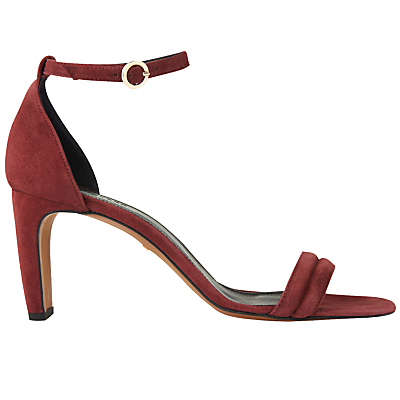 Elsworth Two Part Stiletto Heeled Sandals - predominant colour: burgundy; occasions: evening, occasion, creative work; material: suede; heel height: high; ankle detail: ankle strap; heel: stiletto; toe: open toe/peeptoe; style: standard; finish: plain; pattern: plain; season: s/s 2016; wardrobe: highlight