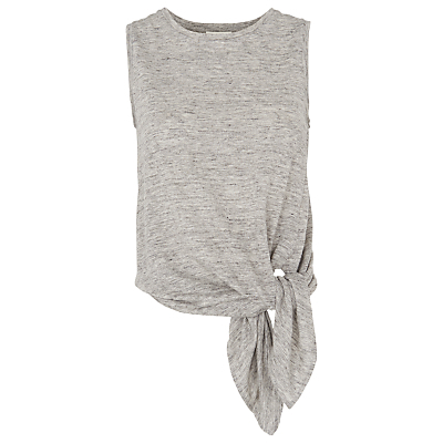 Linen Tie Vest, Grey - sleeve style: sleeveless; style: vest top; waist detail: belted waist/tie at waist/drawstring; predominant colour: light grey; occasions: casual; length: standard; fibres: linen - 100%; fit: body skimming; neckline: crew; sleeve length: sleeveless; pattern type: fabric; pattern size: standard; texture group: jersey - stretchy/drapey; pattern: marl; season: s/s 2016