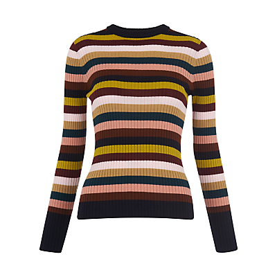 Stripe Rib Knit Jumper, Multi - neckline: round neck; pattern: horizontal stripes; style: standard; predominant colour: black; occasions: casual, creative work; length: standard; fibres: wool - 100%; fit: tight; sleeve length: long sleeve; sleeve style: standard; texture group: knits/crochet; pattern type: knitted - fine stitch; pattern size: big & busy (top); multicoloured: multicoloured; season: s/s 2016; wardrobe: highlight