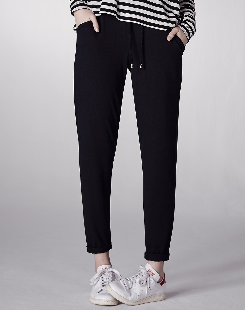 Slouchy Jogger Black - length: standard; pattern: plain; style: tracksuit pants; waist detail: belted waist/tie at waist/drawstring; waist: mid/regular rise; predominant colour: black; occasions: casual; fibres: viscose/rayon - stretch; fit: tapered; pattern type: fabric; texture group: jersey - stretchy/drapey; season: s/s 2016; wardrobe: basic