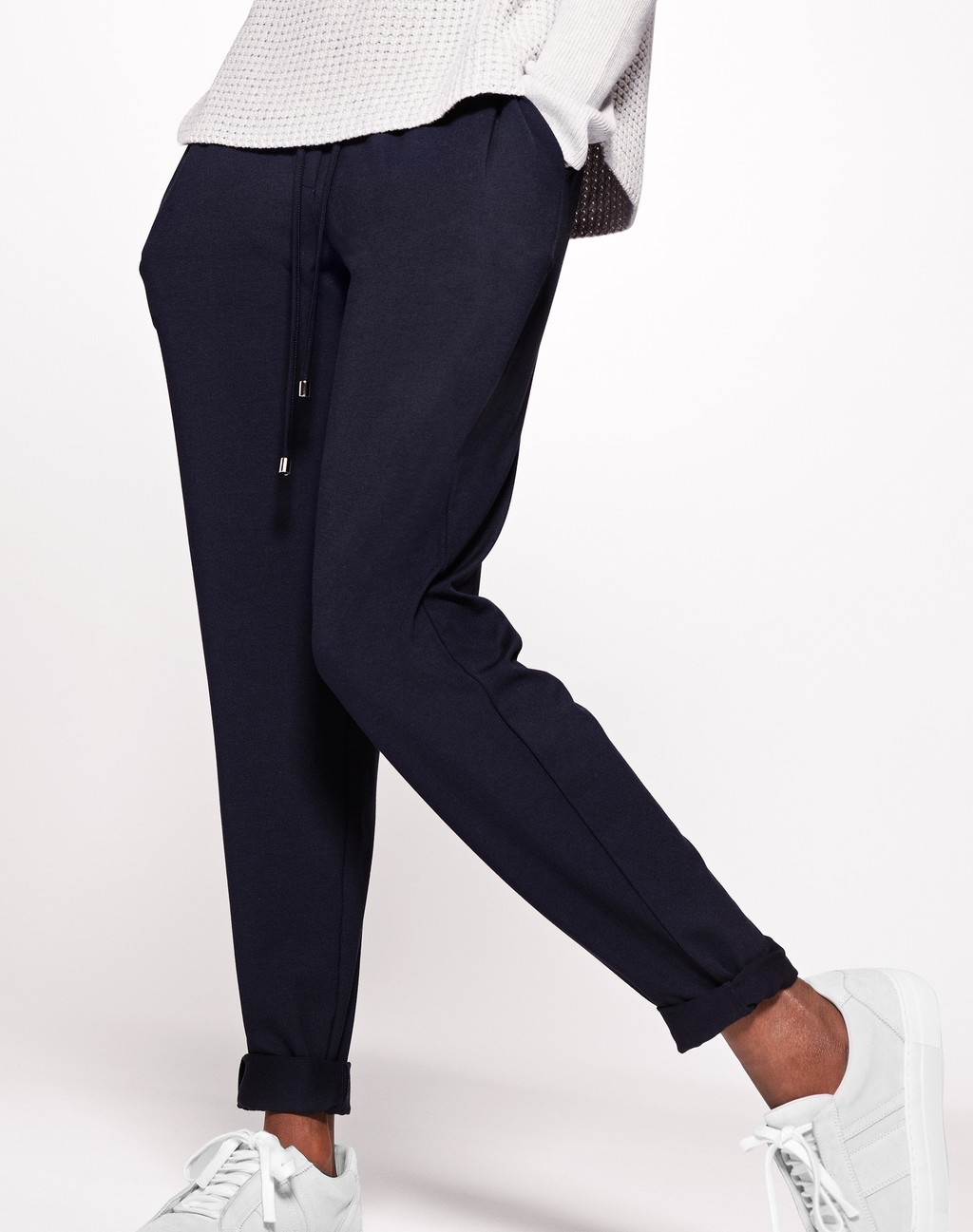 Slouchy Jogger Navy - length: standard; pattern: plain; waist detail: belted waist/tie at waist/drawstring; waist: mid/regular rise; predominant colour: navy; occasions: casual; fibres: polyester/polyamide - stretch; fit: tapered; pattern type: fabric; texture group: jersey - stretchy/drapey; style: standard; season: s/s 2016; wardrobe: basic