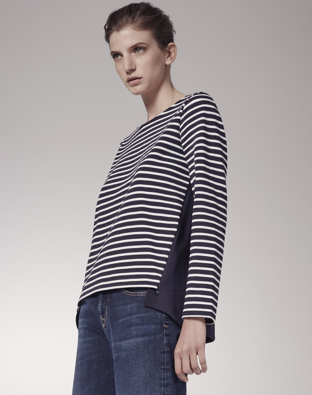 Boxy Breton Top Navy/White - pattern: horizontal stripes; secondary colour: white; predominant colour: navy; occasions: casual; length: standard; style: top; fibres: cotton - 100%; fit: loose; neckline: crew; sleeve length: long sleeve; sleeve style: standard; pattern type: fabric; pattern size: standard; texture group: jersey - stretchy/drapey; multicoloured: multicoloured; season: s/s 2016; wardrobe: basic