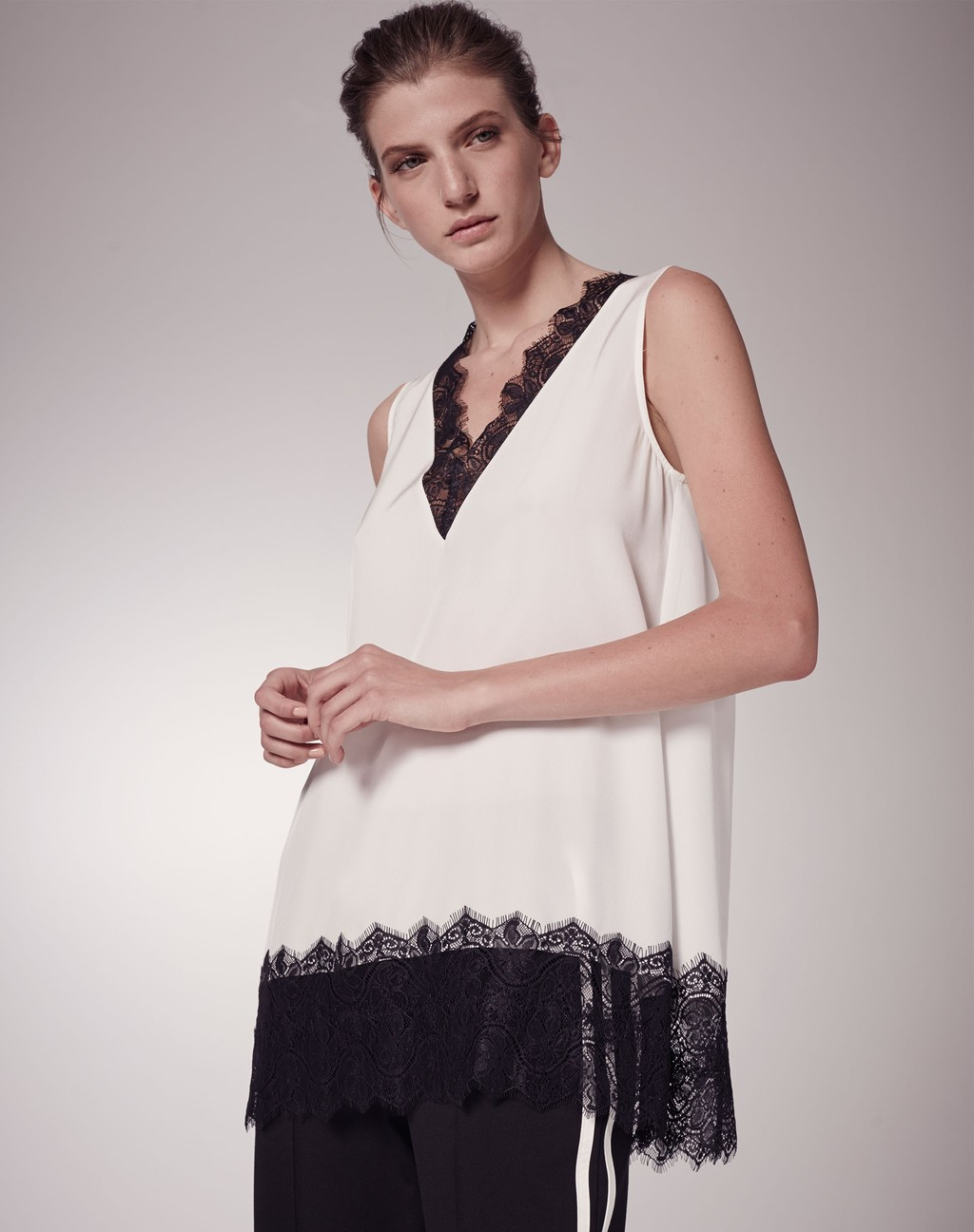 Lace Trim Silk Tunic - neckline: v-neck; pattern: plain; sleeve style: sleeveless; length: below the bottom; style: tunic; predominant colour: white; secondary colour: black; occasions: casual; fibres: silk - 100%; fit: loose; sleeve length: sleeveless; texture group: silky - light; pattern type: fabric; embellishment: lace; multicoloured: multicoloured; season: s/s 2016; wardrobe: highlight