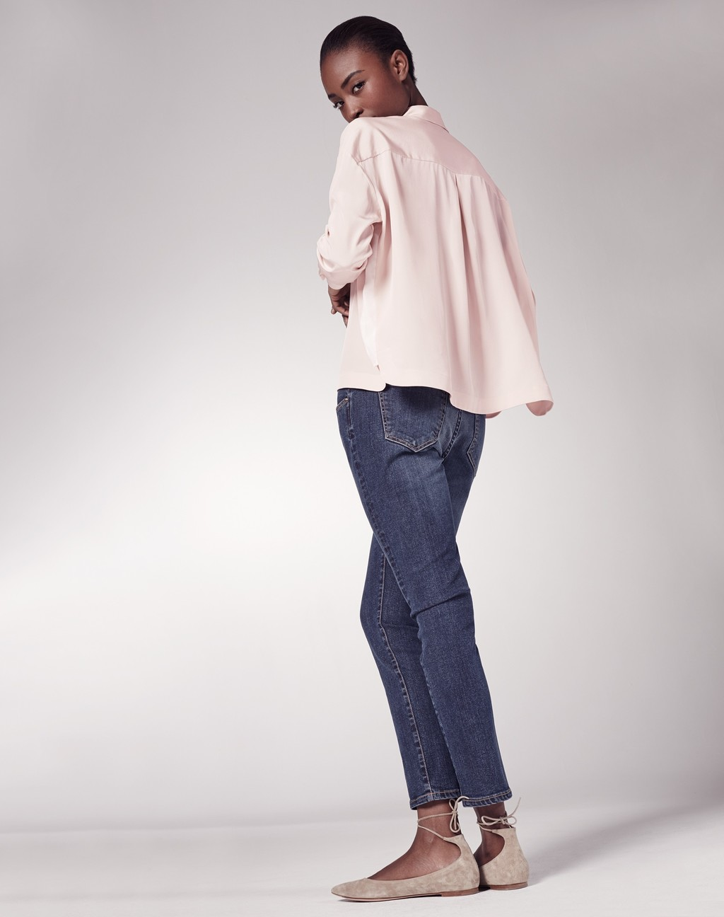 Silk Box Blouse - neckline: shirt collar/peter pan/zip with opening; pattern: plain; style: shirt; predominant colour: blush; occasions: casual; length: standard; fibres: silk - 100%; fit: loose; sleeve length: long sleeve; sleeve style: standard; texture group: silky - light; pattern type: fabric; season: s/s 2016; wardrobe: basic