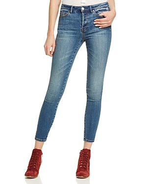 Peyton Skinny Jeans In Denim - style: skinny leg; pattern: plain; pocket detail: traditional 5 pocket; waist: mid/regular rise; predominant colour: denim; occasions: casual; length: ankle length; fibres: cotton - stretch; jeans detail: whiskering, shading down centre of thigh; texture group: denim; pattern type: fabric; season: s/s 2016; wardrobe: basic