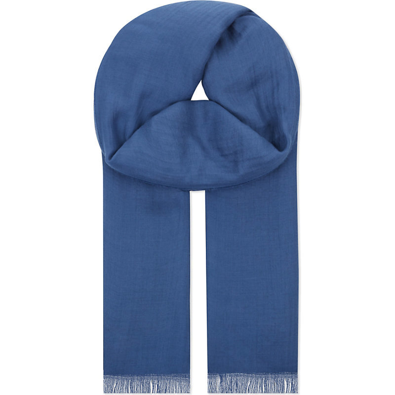 Frayed Modal Scarf, Women's, Blue/Grey - predominant colour: royal blue; occasions: casual, creative work; type of pattern: standard; style: regular; size: standard; material: fabric; pattern: plain; season: s/s 2016